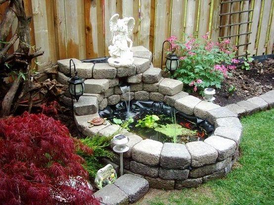 Very small garden pond garden pinterest ponds for Wooden pond waterfalls