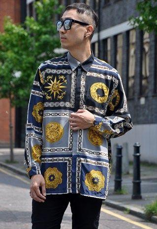Vintage+Ornate+Patterend+Silky+Shirt