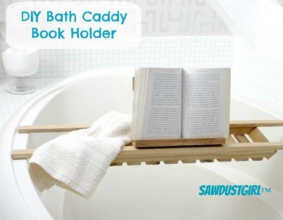 DIY Bath Caddy Book Holder                                                                                                                                                                                 More