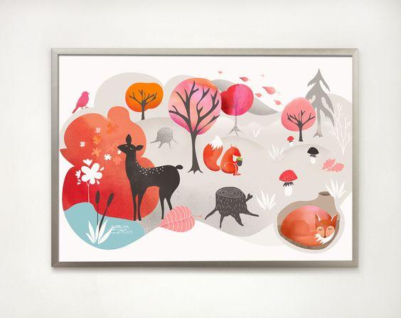 ilustracja dla dzieci, spacer po lesie w Printlove na DaWanda.com