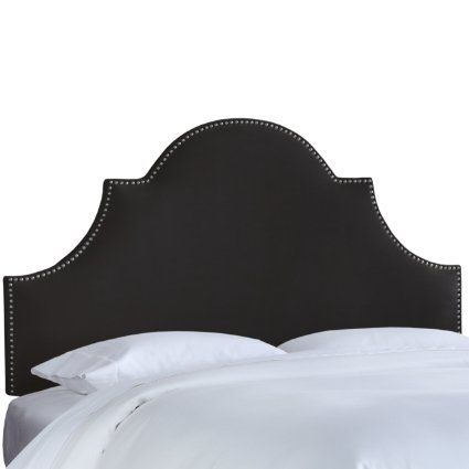 Skyline Furniture Nail Button High Arch Notched Headboard, Queen, Velvet Black
