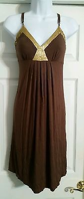 BCBG MAXAZRIA SMALL Brown Gold SEQUIN EMBELLISHED Casual Sundress NWOT