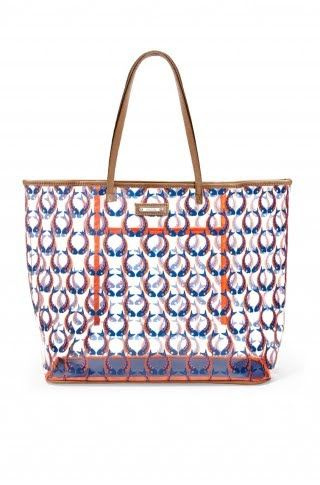 Boardwalk Clear Tote - Marine Blue/Orange Fishtails. Perfect beach bag! www.stelladot.com/sites/annmcbride: