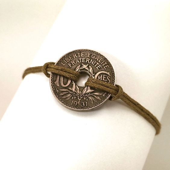 Unisex coin bracelet, French franc 1931 - pinned by pin4etsy.com