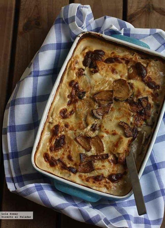 Gratinado de patatas setas y bacon directo al paladar - Gratinado de patata ...
