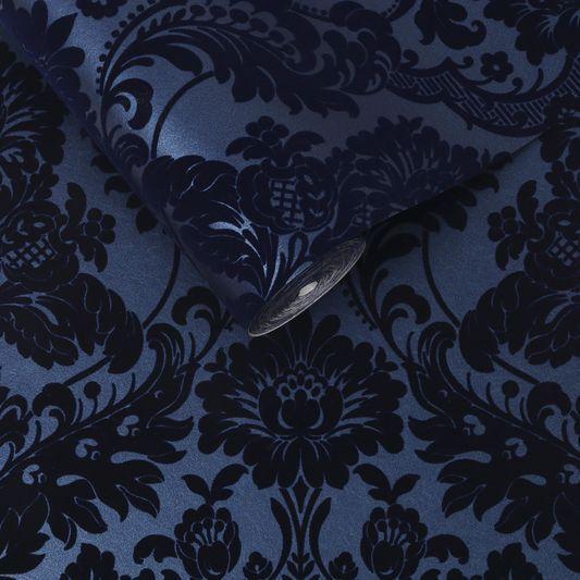 Gothic Damask Flock Cobalt Wallpaper Damask Wallpaper Gothic Wallpaper Black And Silver Wallpaper