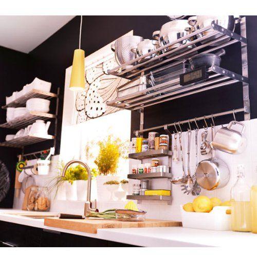 "Amazon.com: Ikea Grundtal Stainless Steel Kitchen Organizer Set 31.5"" (2 Shelves, 2 Rails and 30 Hooks): Kitchen & Dining"