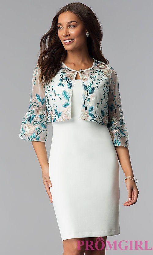Short Mother Of The Bride Sheath Dress With Jacket Formal Dress Patterns Single Piece Dress Jacket Over Dress