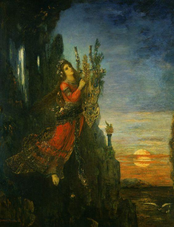 """Gustave Moreau (1826-1898) Sappho se jettant de sumet de la Roche de Leucade Oil On Canvas -1893 65 x 82 cm (25.59"""" x 32.28"""")"""