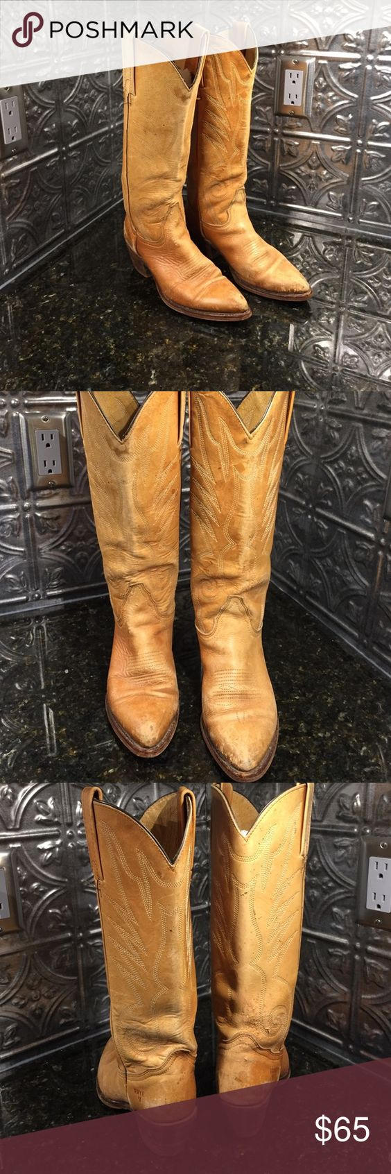 FRYE COWBOY BOOTS SIZE 6B Light tan cowboy boot style frye women's boots. Has wear to them as shown in pictures. Tall boots. Frye Shoes Heeled Boots
