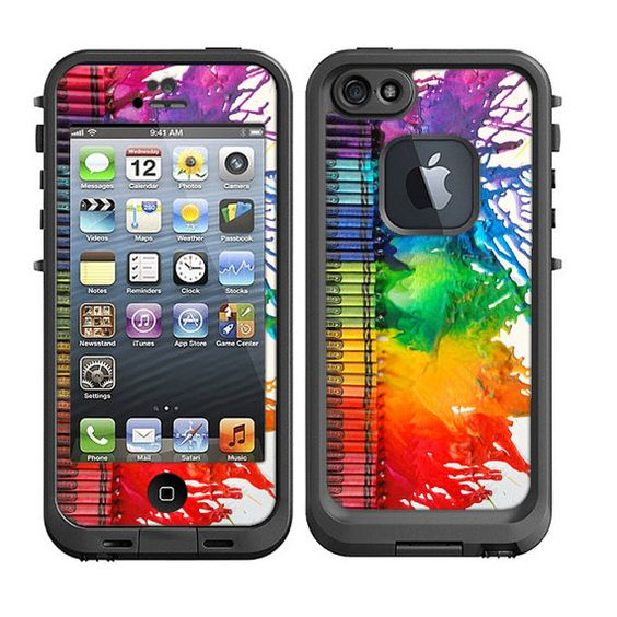 Skins FOR the Lifeproof iPhone 5 Case - Crayons melting colorful - Free Shipping - life proof - Lifeproof Case NOT included