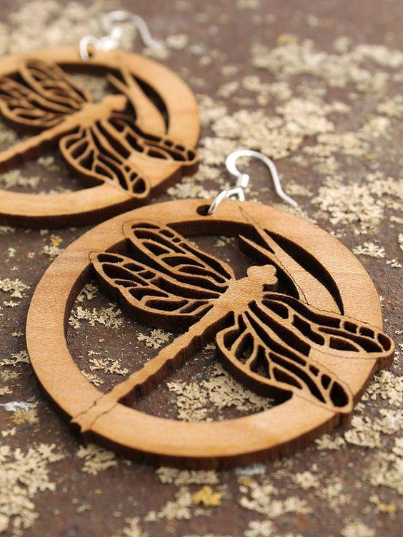 Green Tree Jewelry Red Fox Wooden Lasercut Earrings #1292
