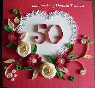 handmade card by Daniela Tsoneva ... red base card ... big white heart with little daisies on the edges ... quilled red zinnias and fanciful flourishes ... rolled roses in cream ... quilled 50 at the center of it all .