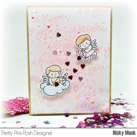 Just Swinging By To Share This Sweet Valentine Card With You Featuring Cupid Friends From The New Prettypinkp Valentines Cards Cards Handmade Pretty Pink Posh