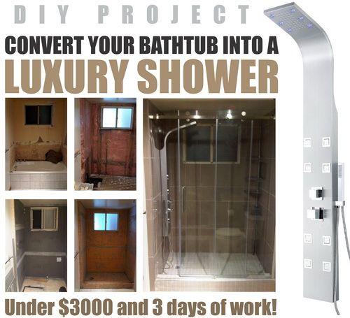 how to convert a bathtub into a luxury walk in shower great diy project diy tips tricks ideas repair pinterest bathtubs luxury and bath