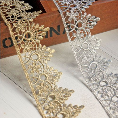Details About 1yard Gold Silver Lace Trim Ribbon Embroidered Dress