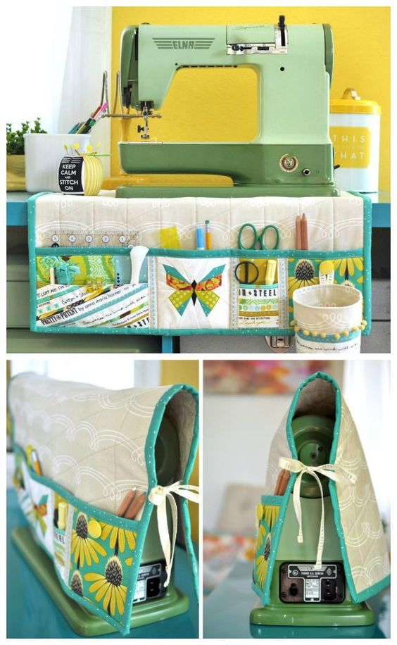 This padded sewing machine mat has pockets and a removable thread catcher.  Then it also doubles up as a sewing machine cover too! Great free tutorial and pattern.: