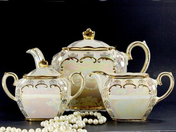 Pearlized Cube Sadler Teapot, Tea Pot Creamer & Sugar, Opalescent Tea Set Made in England