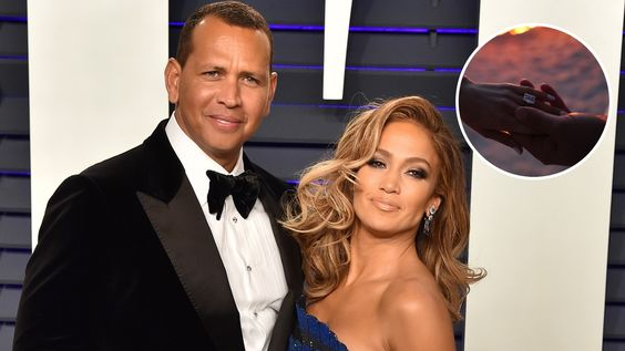 Singer Jennifer Lopez and Alex Rodriguez got engaged! Top Right- Jennifer Lopez Engagement Ring