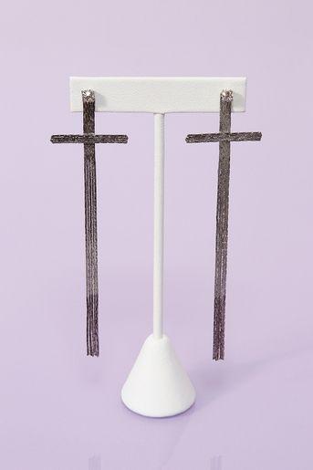 Fringed Cross Earrings