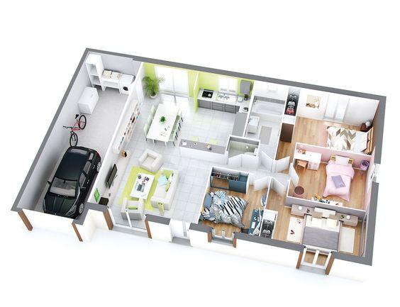 17 Best images about Maison on Pinterest House plans, Villas and - plan de maison 100m2