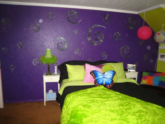 Cool room ideas for girls attractive teens bedroom big for Green and purple bedroom designs