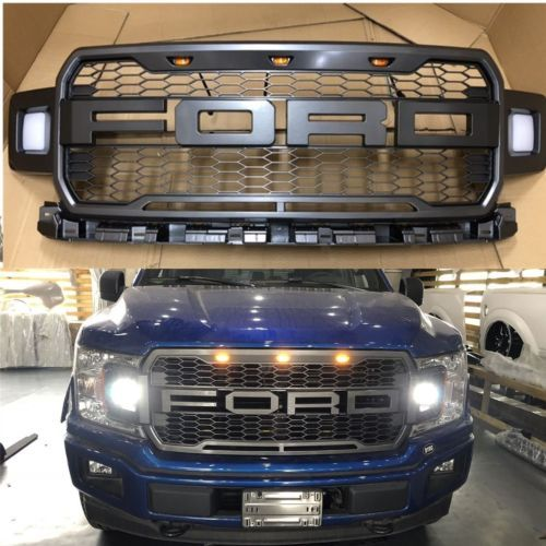 2018 F150 Raptor Style Front Grille Upper Grill For Ford F 150 W Side Led Ford F150 Ford F150 Accessories F150