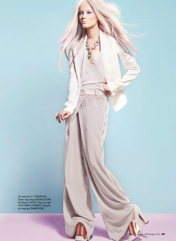 still not over the pink ombre hair on blondes    Natalia Chabanenko by Kevin Sinclair for Elle Vietnam April 2012