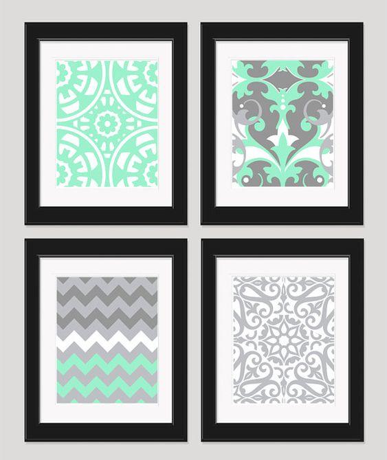 mint green grey white art wall art bedroom art chevron art set. beautiful ideas. Home Design Ideas