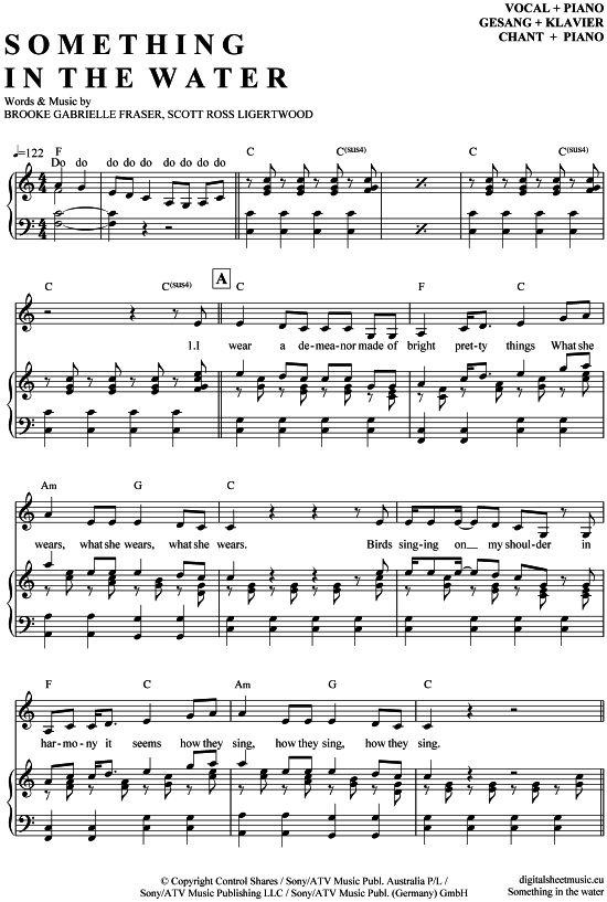 Something in the water (Klavier + Gesang) Brooke Fraser [PDF Noten] >>> KLICK auf die Noten um Reinzuhören <<< Noten und Playback zum Download für verschiedene Instrumente bei notendownload Blockflöte, Querflöte, Gesang, Keyboard, Klavier, Klarinette, Saxophon, Trompete, Posaune, Violine, Violoncello, E-Bass, und andere ...