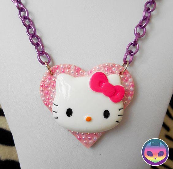 HELLO KITTY Necklace  heart pink kawaii cute lolita by ReinboNeko, £9.99