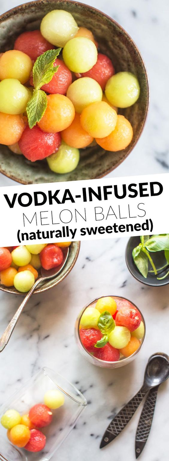 Vodka Infused Melon Balls - naturally sweetened, refreshing dessert for your parties! by @healthynibs