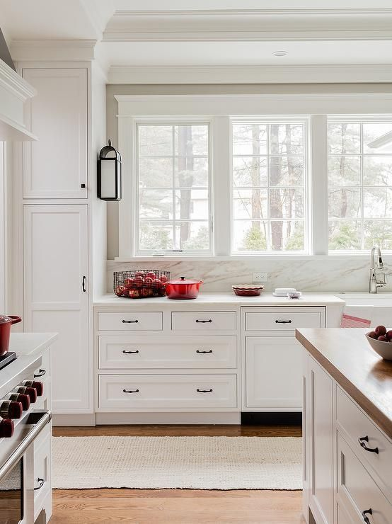 White Kitchen With Red Accents Transitional Kitchen
