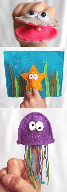3 Brinquedos de feltro tema Mar: Estrela, Polvo e Ostra: