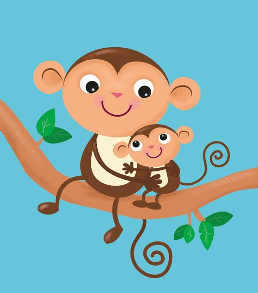 Two monkeys hugging drawing - photo#8