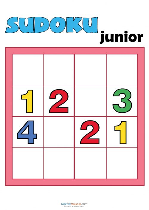 sudoku for kids numbers 1