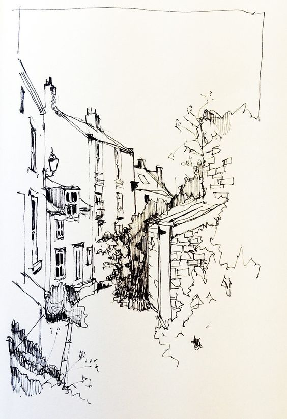 A sketch from Staithes in September