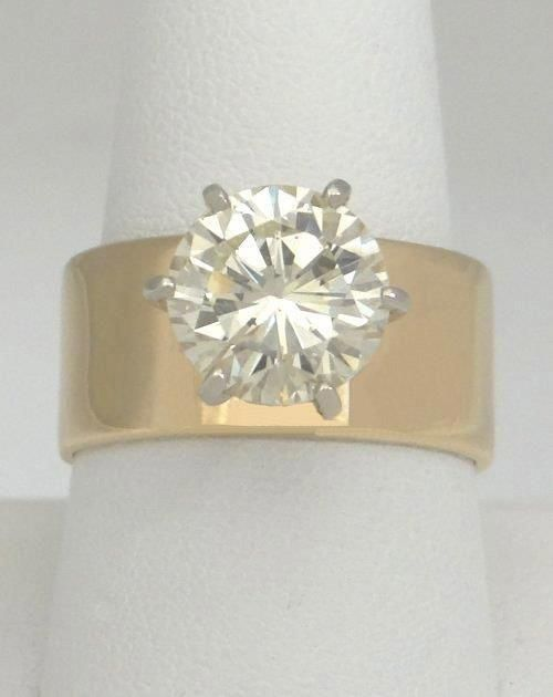 3 95ctw Round Diamond 14k Yellow Gold Solitaire Wide Band Engagement Ring 10mm 35892s Wide Band Diamond Rings Wide Band Engagement Ring Wedding Rings Solitaire