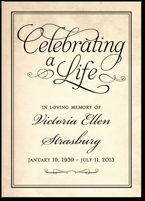 Celebrating a Life - Prayer Cards in Black or Sienna Brown | Hello ...