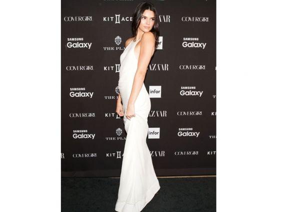 Kendall Jenner sported a sheer white dress at the Harper's Bazaar do