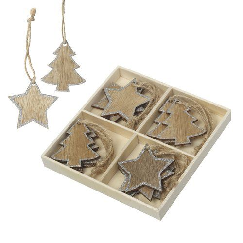 The Seasonal Aisle 12 Piece Tree And Star With Glitter Holiday Shaped Ornament Set Wooden Christmas Tree Decorations Wooden Christmas Trees Holiday Shapes