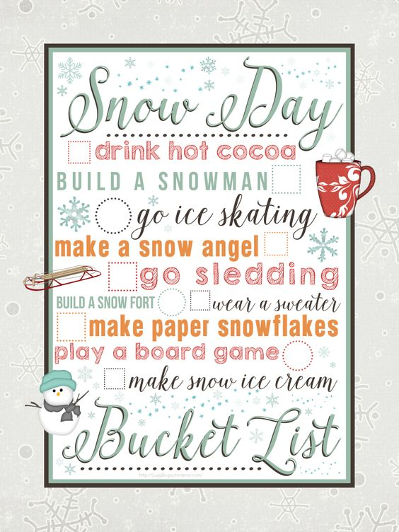 Snow Day Bucket List printable from Juggling Act Mama:
