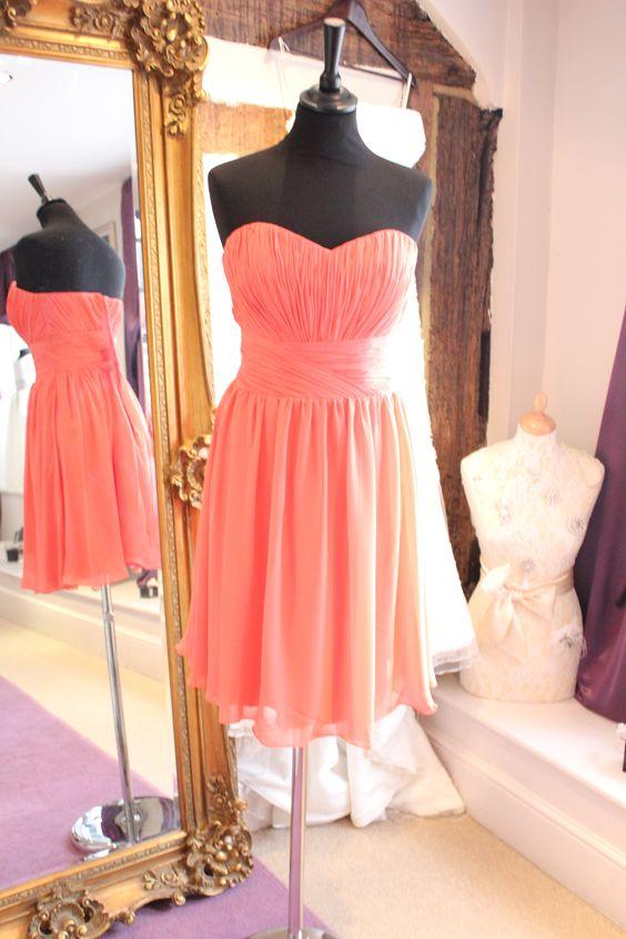 Coral chiffon Bridesmaids dress www.thefarnhamboutique.com