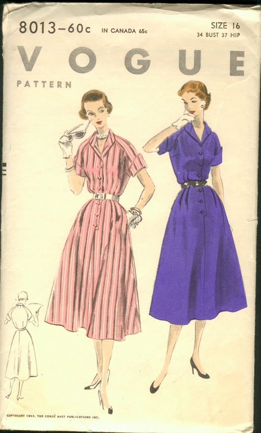 "Vogue 8013; ©1953; Unprinted Pattern. One Piece Dress ""Easy-To-Make"". Four piece skirt has relased dart pleats at side fronts, and optional ..."