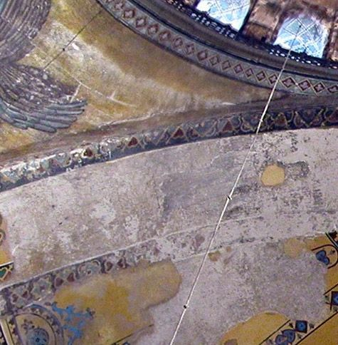 Traces Of 14th Century Mosaic Work In The Bema Arch Of Hagia Sophia Here Is An Orant Theotokos Hagia Sophia Seraphim Sophia