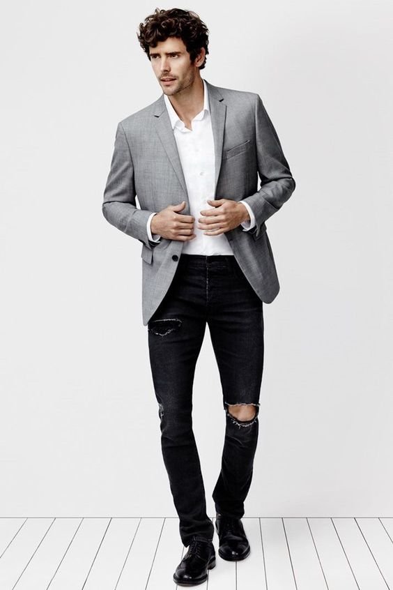 Men's Grey Blazer, White Long Sleeve Shirt, Black Ripped Jeans ...