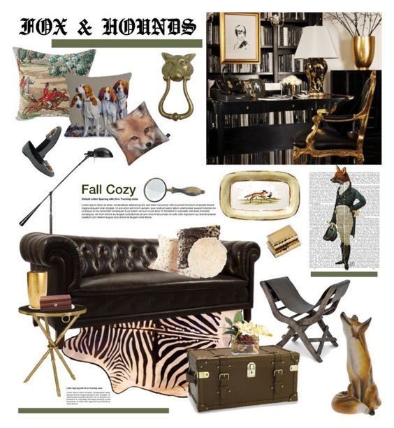 """""""Fox & Hounds"""" by barngirl ❤ liked on Polyvore featuring interior, interiors, interior design, home, home decor, interior decorating, Jayson Home, One Bella Casa, Ralph Lauren Home and AERIN"""