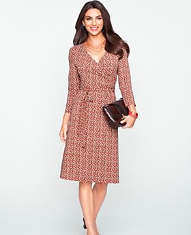 A soft jersey dress in a wrap silhouette can take you from day to night when you pair it with the Aravon Elizabeth shoe. (via @Talbots www.talbots.com)