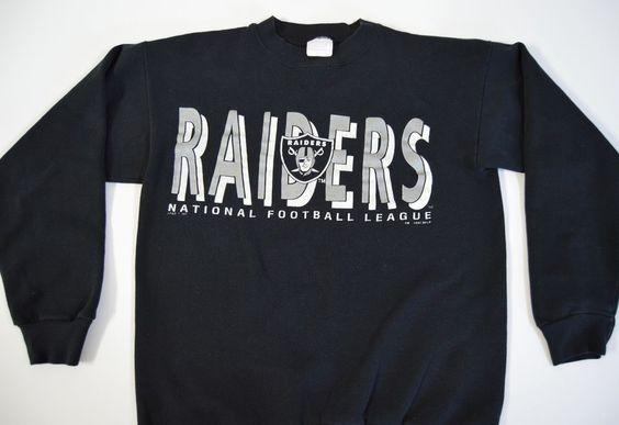 Raiders NFL Youth Large Black Sweatshirt 1990 Silver Logo Vintage Crewneck Football