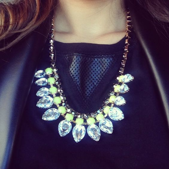 Blogger Mo rocking our H&M inspired Dionne necklace. Available at www.shopadornedonline.com